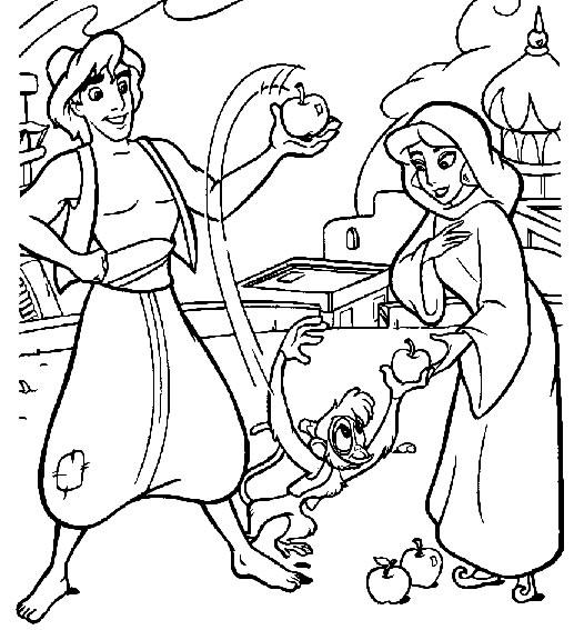 Coloriage Abu Aladdin Et Jasmine En Mendiante Coloriages