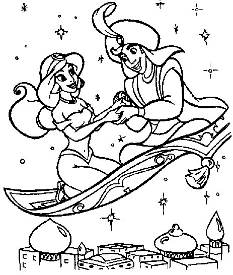 Coloriage Le Prince Aladdin Et Jasmine Font Des Reves Bleu
