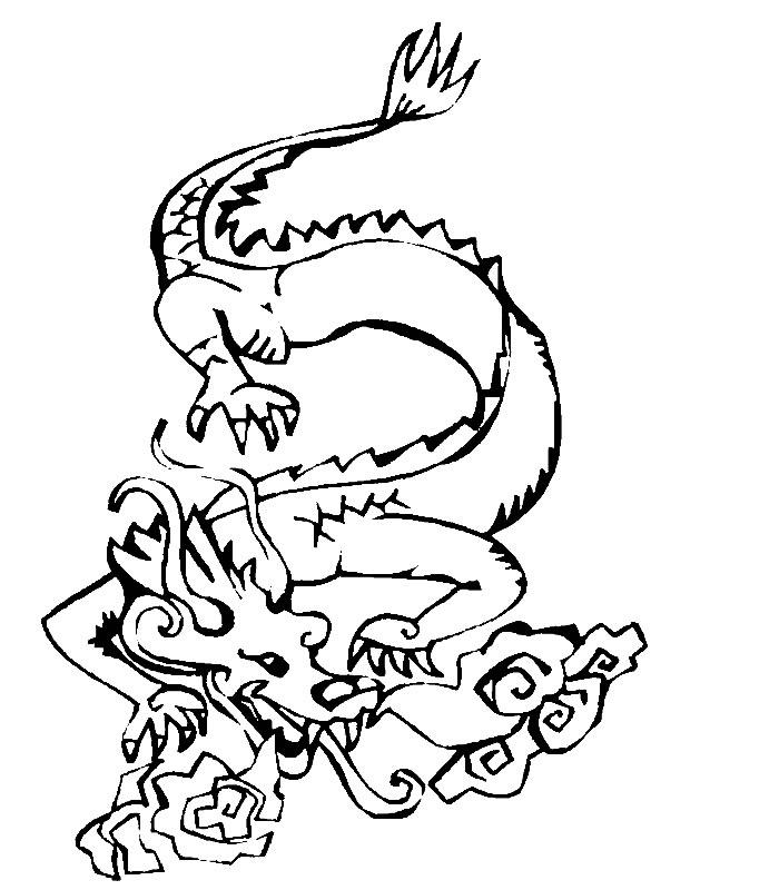 Coloriage asiatique coloriages dragon jeu pour fille - Modele dessin dragon ...