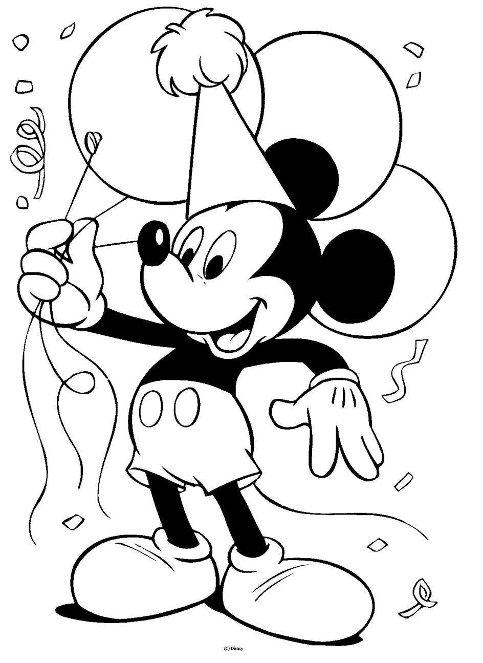 Coloriage Fille Anniversaire.Coloriage Joyeux Anniversaire Mickey Coloriages Mickey