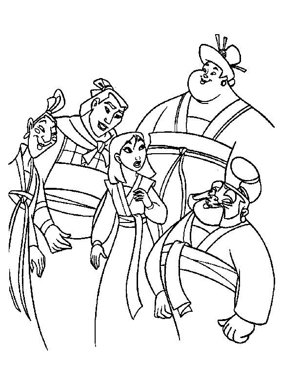 Coloriage mulan et ses amis coloriages mulan jeu pour - Mulan coloriage ...